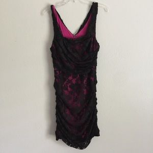 Express Fuchsia Pink And Black Floral Lace V Back